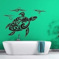 Wall Sticker Sea Turtle Carapace Head Sea Waves Vinyl Decal Unique Gift (n338)
