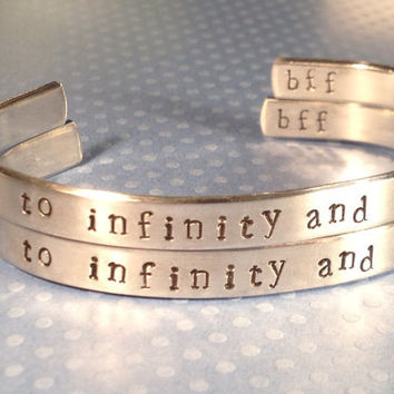 To Infinity and Beyond - Set of Two Bracelets - Customizable - BFF Gift -