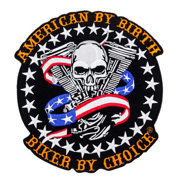 American By Birth Biker By Choice skull US Flag v twin Large Back Patch for Vest Jacket 10 inch