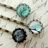 Winter Tree and Resting Bird Hair Pin Set. Aqua. Black. White.