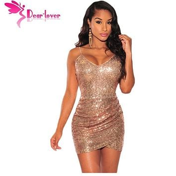 Dear Lover party sexy strap v neck Rose Gold Sequin Ruched Club Dress mini bodycon vestidos sequined fabric girl clothes LC22626