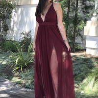 Christina Burgundy Tulle Dress