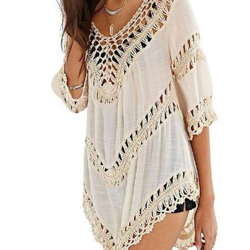 Cover ups Bikini LumiParty Women Summer Bikini Crochet Smock Beach Cover Up Knitted Tops Swimwear Bathing Suit Beachwear Bikinis Wear  KO_13_1