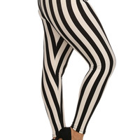 Plus Size Beetlejuice Black & White Stripe Leggings