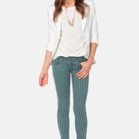 Others Follow Railroad Striped Blue Skinny Jeans