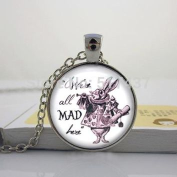 Glass Dome Pendant,We're all Mad here, White Rabbit Alice in Wonderland Necklace Glass Cabochon Necklace