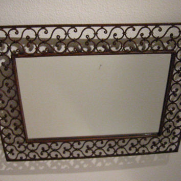 Contemporary Industrial Metal Openwork Wall Mirror Geometric Hearts