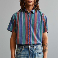 UO 90s Stripe Short Sleeve Button-Down Shirt - Urban Outfitters