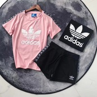 """Adidas"" Print Short sleeve Top Shorts Sweatpants Set Two-Piece Sportswea"