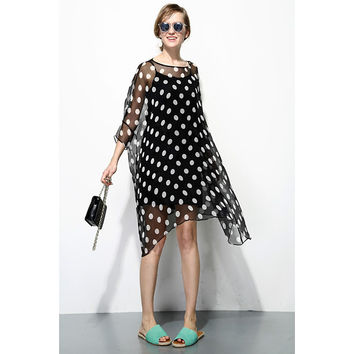 Polka Dot Sheer Black Dress