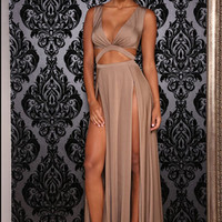 Plain V-Neck Sleeveless Cutout Maxi Dress With Slit