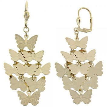 Gold Layered 02.63.2205 Chandelier Earring, Butterfly Design, Diamond Cutting Finish, Gold Tone