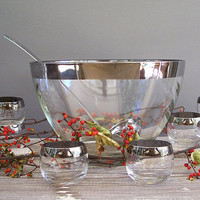 vintage punch bowl set glass with silver rim by KatyBitsandPieces