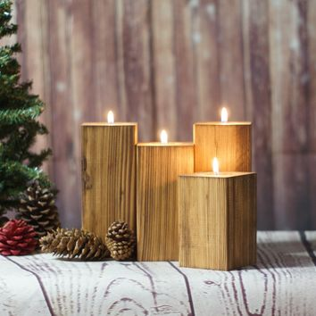 Reclaimed Wood Candle Holder Set