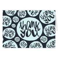 Navy Blue Modern lettering Thank You Notecard