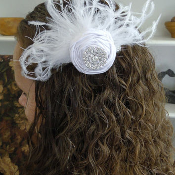 ON SALE Bridal Fascinator Comb White Satin Rosette With Feathers and A Rhinestone Embellishment