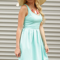 Ice Cool Mint Sleeveless Fit and Flare Dress - Lotus Boutique