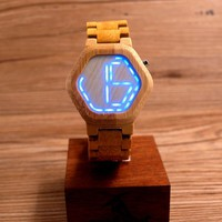Men's Hexagonal Form Wood Watch