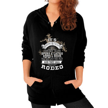 ITS BOOTS CHAPS Zip Hoodie (on woman)