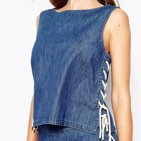 Noisy May Lace Up Denim Shell Top