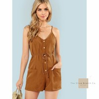 Button Detail Cami Romper