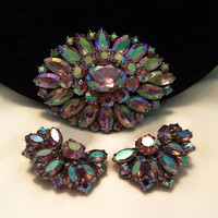 Sherman Vintage Flower Brooch & Earrings Aurora Borealis Champagne Pink Glass Rhinestone Silver Pin Set