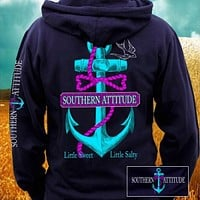 Southern Attitude Anchor Bow Navy Vintage Girlie Bright Pullover Shirt Hoodie