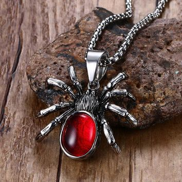 Punk Vintage Retro Black Widow Spider Stainless Steel Pendant Necklace