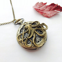Pirates Octopus Pocket Watch Necklace