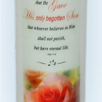 John 3:16, christian candles, inspiration candles, bible candle, everlasting candle, religous home decor, spiritual candle, scripture candle