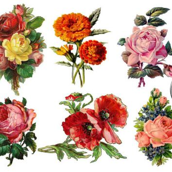 SHIP FROM NY - Set of 6 Vintage Floral temporary tattoo*