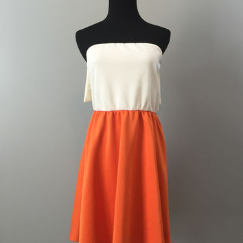 Laid Back Gameday Dress with Bow in Orange - CLOSEOUT