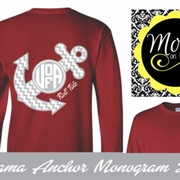 Alabama Chevron Anchor with Monogram - Crimson and White