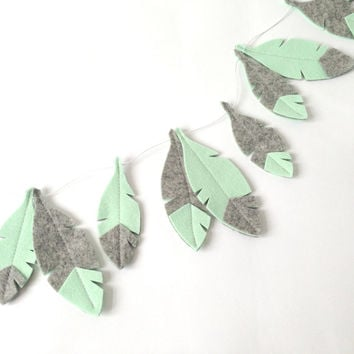 Feather Garland, Mint green and grey Feathers, bohemian nursery, nursery decor, baby decor, baby garland, teepee accessory, nursery garland