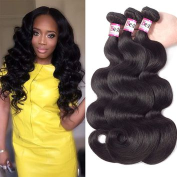 Brazilian Virgin Hair Body Wave 3 Bundles Remy Human Hair Weaves 100% Unprocessed Hair Extensions Natural Color 8A (12 14 16)