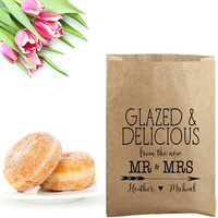 Wedding Donut Bag Stamp - Wedding Donut Favor Bag - Glazed & Delicious From the Mr and Mrs - Wedding Favor Bag - Wedding Donut Box