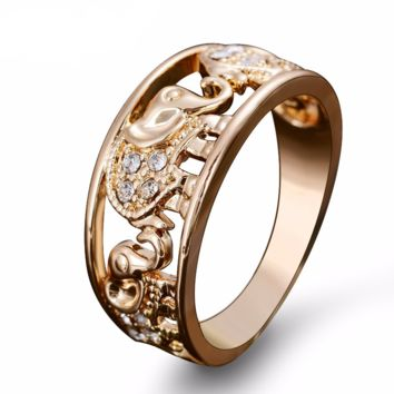 Gold Plated Elephant Ring