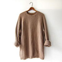 vintage light brown oatmeal sweater. oversized slouchy pullover sweater. cotton sweater. boyfriend sweater. loose knit pullover. size L