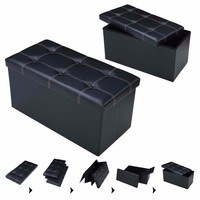 PROMOTION 76 x38 x38cm Large Storage Faux Leather Ottoman Pouffe Box Stool Black Foldable organizer Sofa Home Furniture HW51345