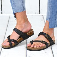 Toe Strap Bork Slide On Sandals Metallic Mermaid {Black Mix}