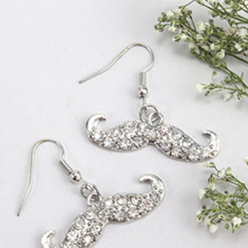 Mustache Dangle Earring