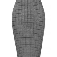 LE3NO Womens Fitted Tartan Chequered Elastic Waist Plaid Midi Skirt
