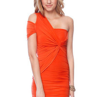 Off to One Side Dress in Orange :: tobi