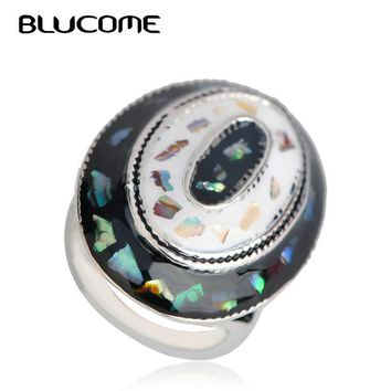 Blucome Vintage Style Round Abalone Shell Large Rings Enamel Women's Banquet Party Remembrance Day Wedding Accessories Jewelry