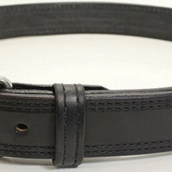 Black Double Stitched Bullhide Handcrafted Belt for Work, Casual, or Gun Carry - Lifetime Warranty
