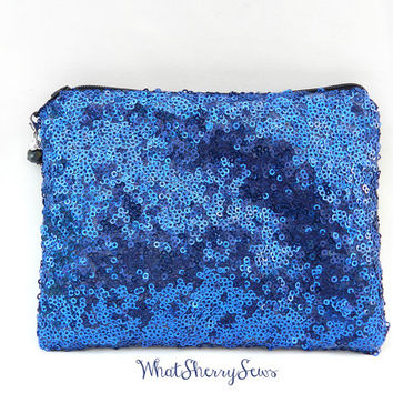 Navy Blue Sequin Clutch/Makeup/Toiletries Bag Glittery Sparkly Blue Sequin With Black Zipper and Optional Color Bead Zipper Pull