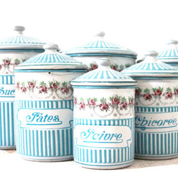 Rare and Beautiful Set of Six White and Sky blue stripes Canisters with Floral garland. Signed and numbered BB Frères Austria.