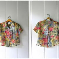 Floral Cropped Blouse Sheer Crop Top OPEN BACK Button Up Blouse Vintage Minimal Boxy Sheer Shirt Modern Monet Print Crop Top Womens Medium