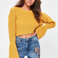 Missguided - Yellow Flared Sleeve Knitted Cropped Jumper
