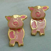 Pink Enameled Pig Two-Level Articulated Post Earrings Vintage Jewelry